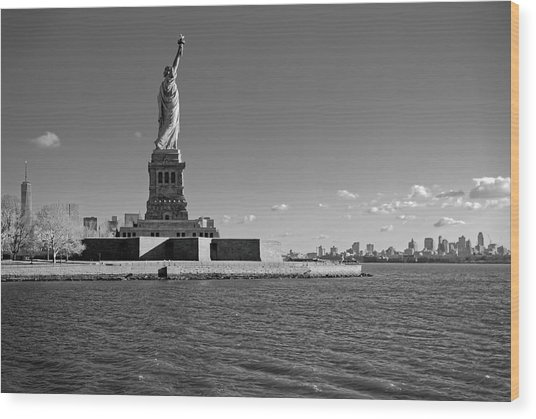 Statue Of Liberty And Freedom Tower Wood Print