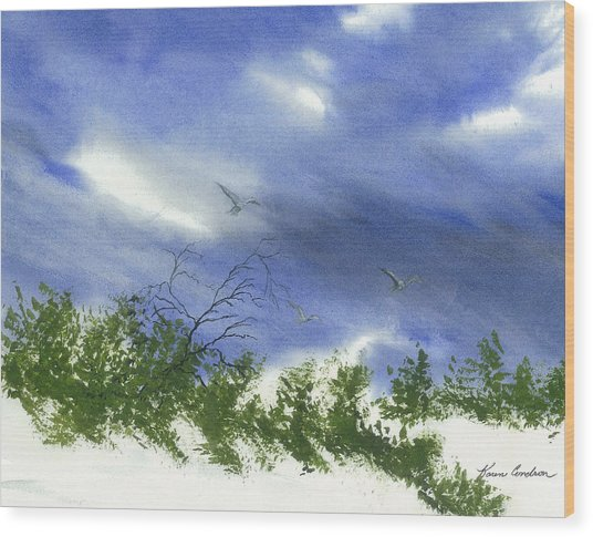 The Still Of Shore Wood Print by Karen  Condron