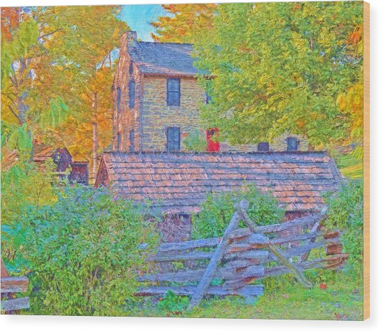 The Stone House At The Oliver Miller Homestead / Late Afternoon  Wood Print