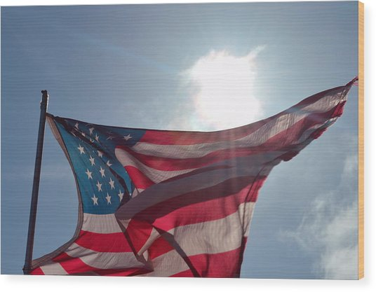 The Sun Of America 2 Wood Print by Sheldon Blackwell