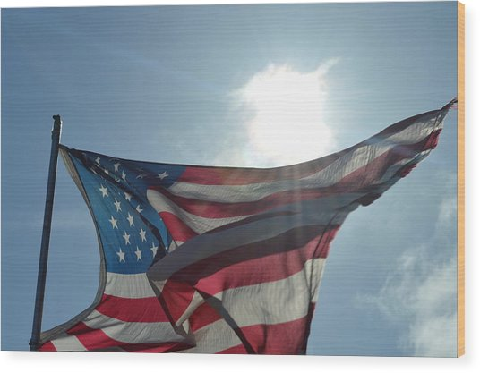 The Sun Of America Wood Print by Sheldon Blackwell