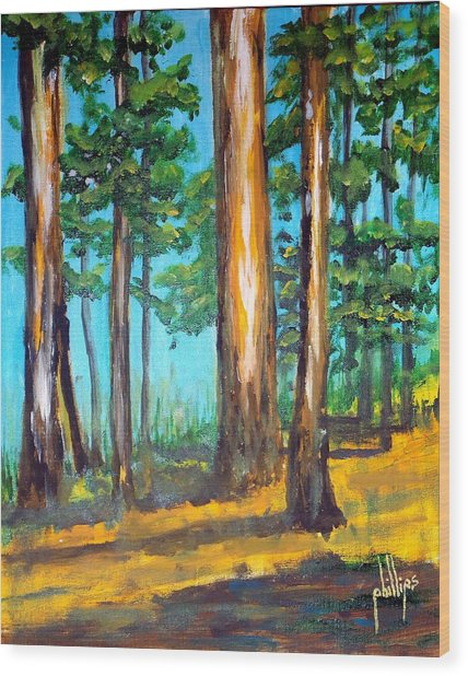 The Sun Slid Down The Ridge Wood Print