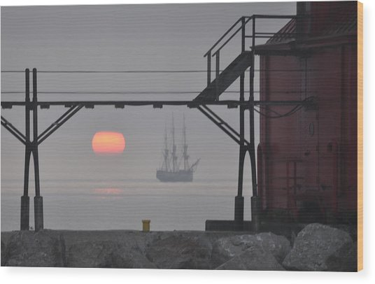 The Sunrises On A Tall Ship In Door County Wood Print