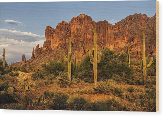 The Superstitions At Sunset  Wood Print