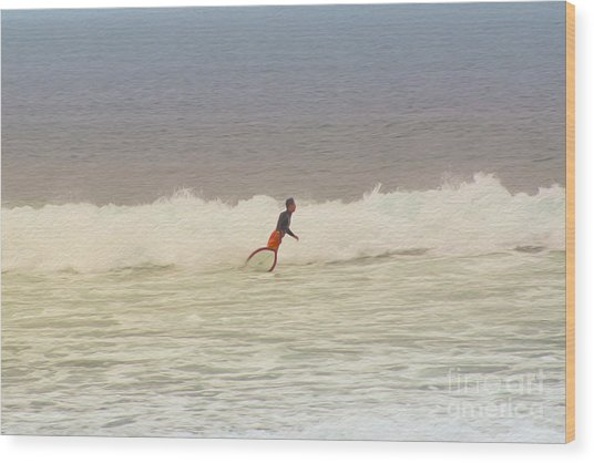 The Surfer Wood Print by Nur Roy