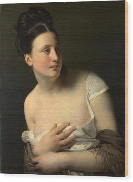Wood Print featuring the painting The Surprise by Claude-Marie Dubufe
