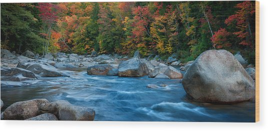 The Swift River Of New Hampshire-an Autumn Grand Landscape Wood Print by Expressive Landscapes Nature Photography