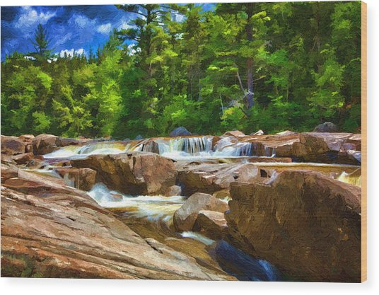 The Swift River Beside The Kancamagus Scenic Byway In New Hampshire Wood Print