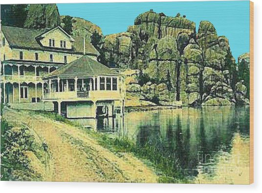 The Sylvan Lake Hotel In Ouster Sd C.1910 Wood Print by Dwight Goss