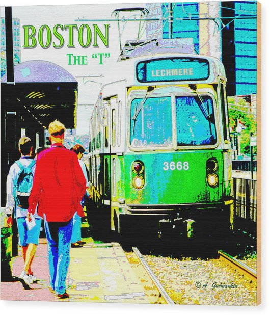 The T Trolley Boston Massachusetts Wood Print