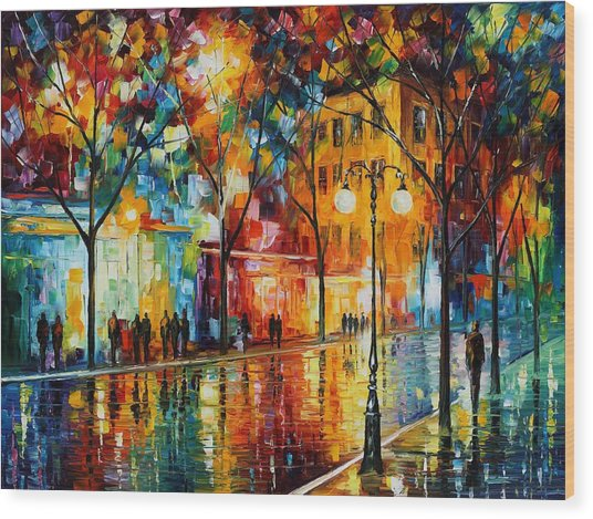 The Tears Of The Fall - Palette Knife Oil Painting On Canvas By Leonid Afremov Wood Print