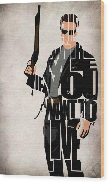 The Terminator - Arnold Schwarzenegger Wood Print