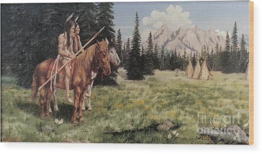 The Tetons Early Tribes Wood Print by Wanda Dansereau