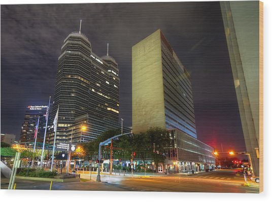 The Texas Medical Center At Night Wood Print