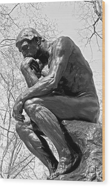 The Thinker In Black And White Wood Print