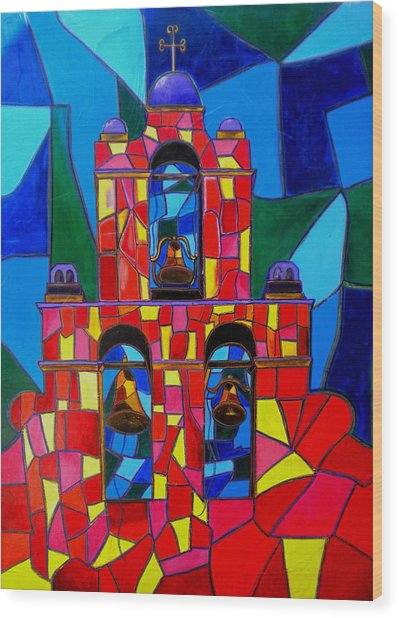 The Three Bells Of San Jose Mission Wood Print by Patti Schermerhorn