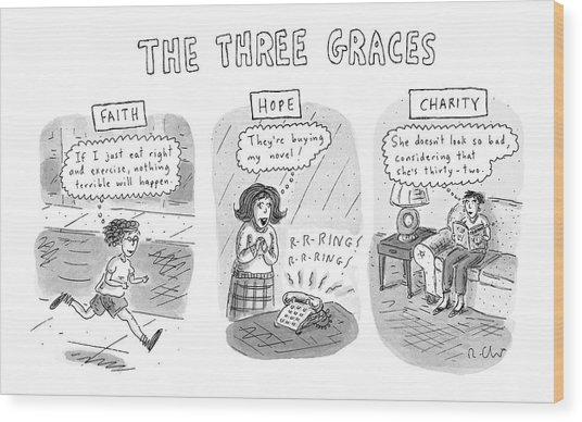 'the Three Graces' Wood Print