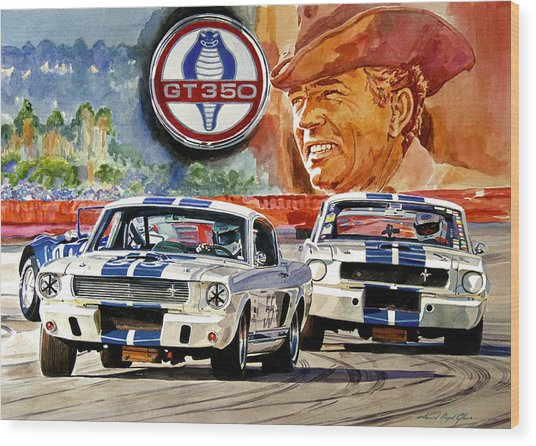The Thundering Blue Stripe Gt-350 Wood Print