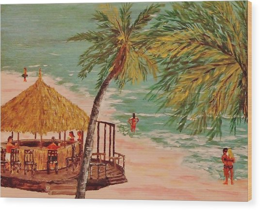 The Tiki Bar Is Open Wood Print