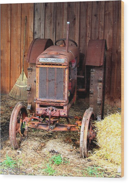 The Tractor Wood Print by John Freidenberg