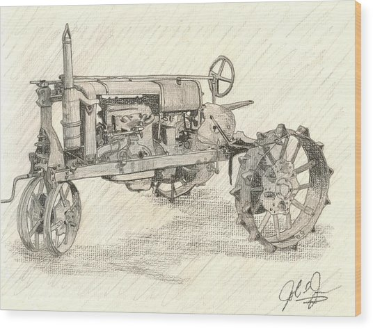 The Tractor Wood Print by John Jones