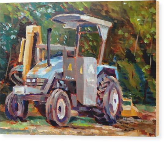 The Tractor Wood Print by Mark Hartung