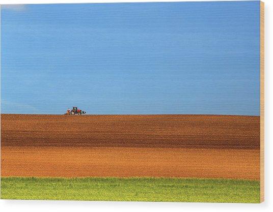 The Tractor Wood Print by Massimo Della Latta