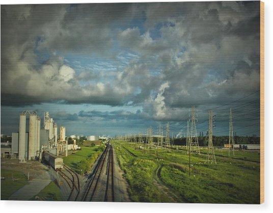 The Train Yard Wood Print
