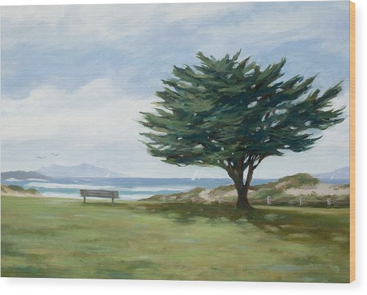 The Tree At Marina Park Wood Print by Tina Obrien