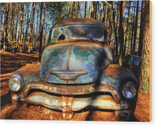 The Truck In The Woods Wood Print