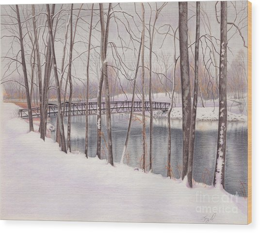 The Tulip Tree Bridge In Winter Wood Print by Elizabeth Dobbs