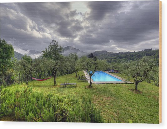 The Tuscan Villa Pool Wood Print