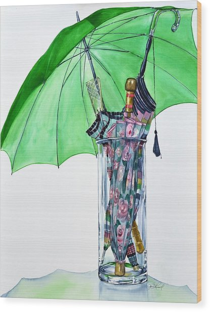The Umbrella Plan Wood Print by Jane Loveall