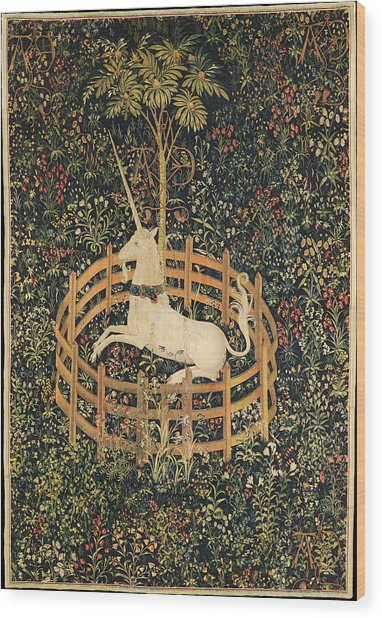 The Unicorn In Captivity Wood Print