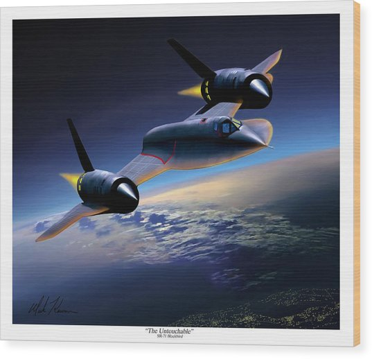 The Untouchable  Sr-71 Blackbird Wood Print by Mark Karvon