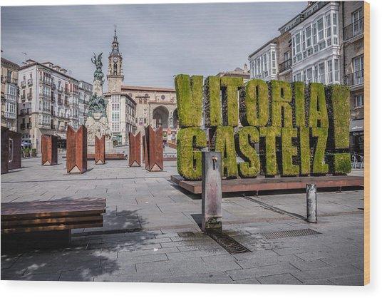 The Vertical Garden In Vitoria-gasteiz Wood Print by Salima Senyavskaya