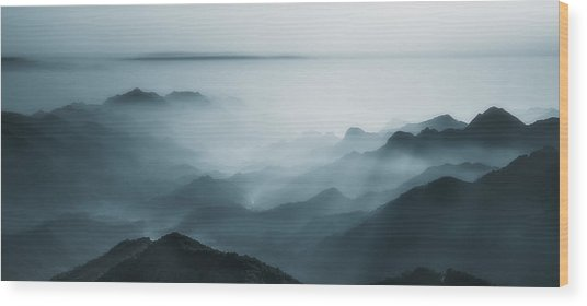 The Village In The Morning Mist Wood Print
