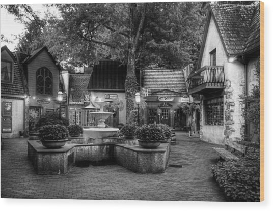 The Village Of Gatlinburg In Black And White Wood Print