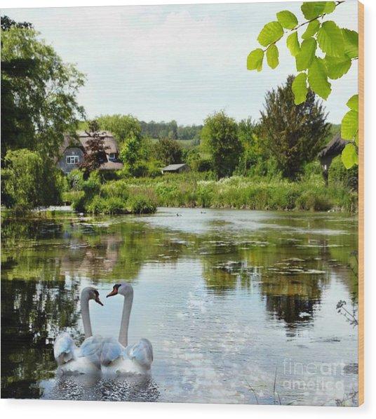 The Village Pond Wood Print