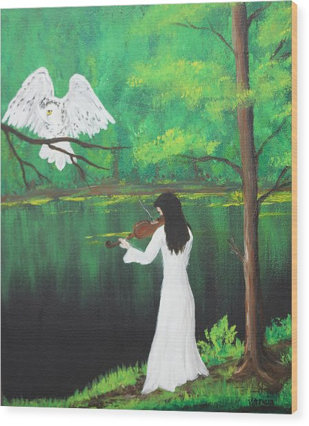 The Violinist By The River   Wood Print