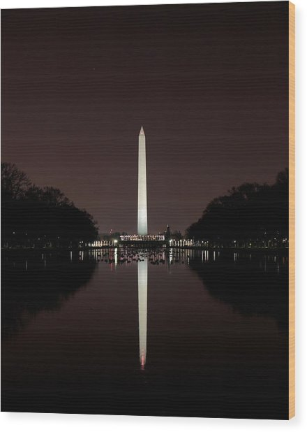 The Washington Monument - Reflections At Night Wood Print