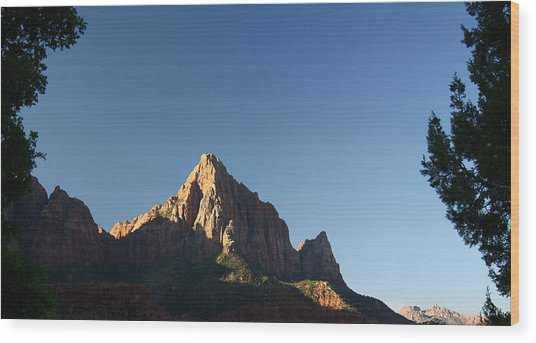 The Watchman In Zion National Park Wood Print