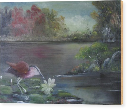 The Water Bird Wood Print by M Bhatt