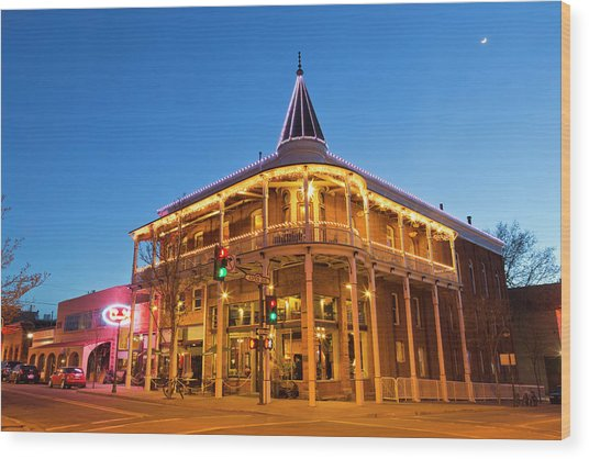 The Weatherford Hotel At Dusk Wood Print