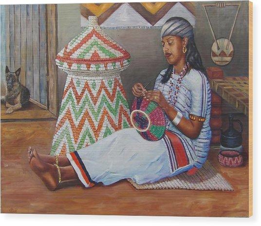 The Weaving Lady Wood Print