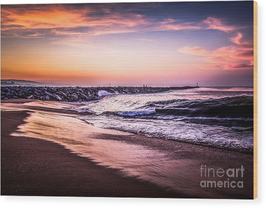 The Wedge Newport Beach California Picture Wood Print by Paul Velgos