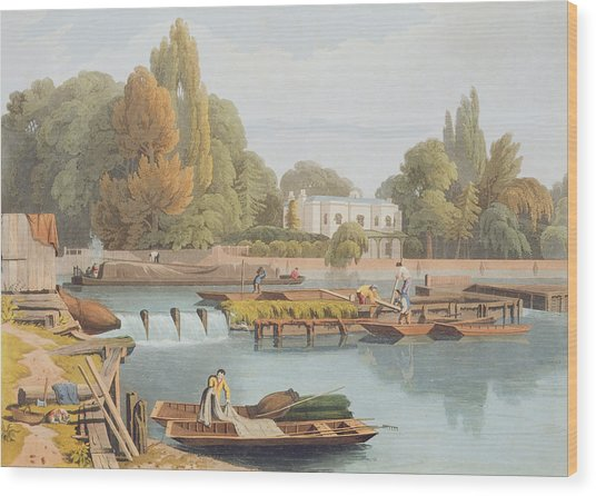 The Weir, From Marlow Bridge, Engraved Wood Print