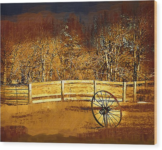 The Wheel And The Fence Wood Print