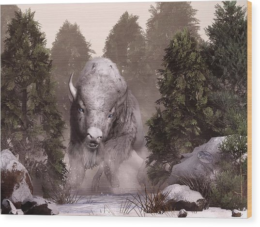 The White Buffalo Wood Print