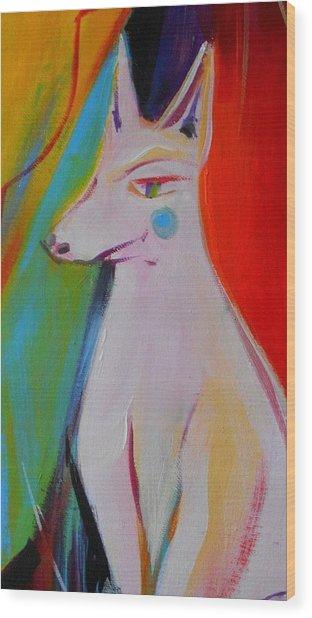The White Dog  Wood Print by Marlene LAbbe